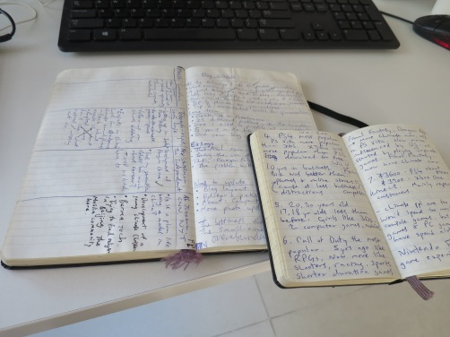 My notebooks. Moleskine. I use the little one for to-do lists, jotting down story ideas and reporting. I use the larger one to write out drafts, diagram article structures, and make long-term plans. And make notes obvs.