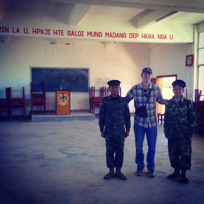 The author with rebel soldiers in Laiza, Kachin state in November, 2014.