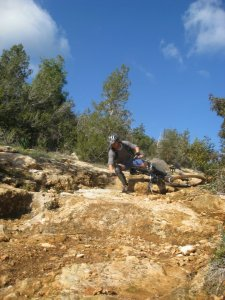 Here I am falling off while mountain biking in Cyprus